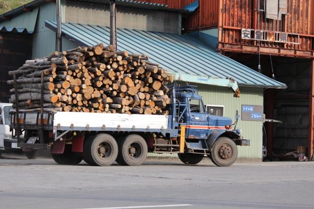 山上げ見学の後、創業100年の木炭の生産者・谷地林業を訪問。ボンネット型トラック。都会ではめったに見ないですが、林業地ではバリバリ働いています。