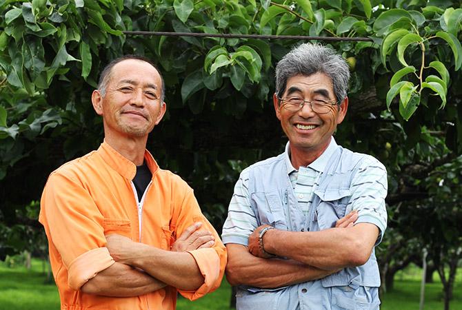 新萌会のお二人。左・斎藤宏道さん、右・阿部和行さん。長年にわたる有機質肥料の投入でできた豊な土が、お二人のおいしい梨づくりを支えています。