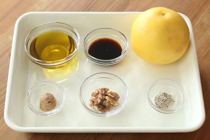 グレープフルーツ、生姜、くるみ、オリーブオイル、醤油、こしょう