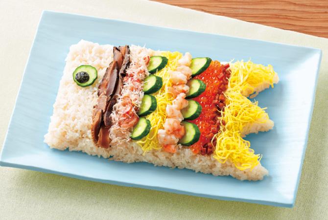 ちらし寿司をこいのぼりの形にアレンジしても