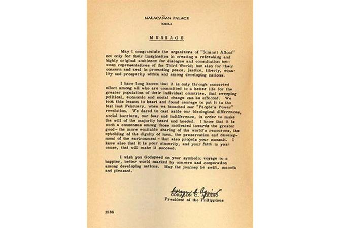 コラソン・C・アキノ大統領からのメッセージ