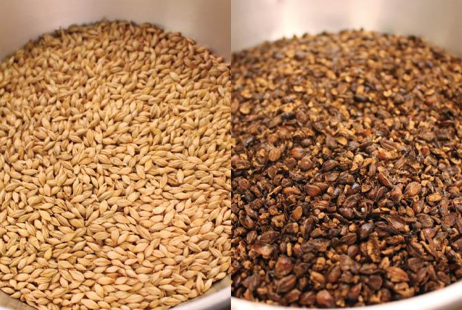 (左)浅煎りはわずか10秒程度ながら、大麦の甘みを引き出します (右)二度目の深煎りは40秒程度。ここで作る煎りムラが風味の決め手