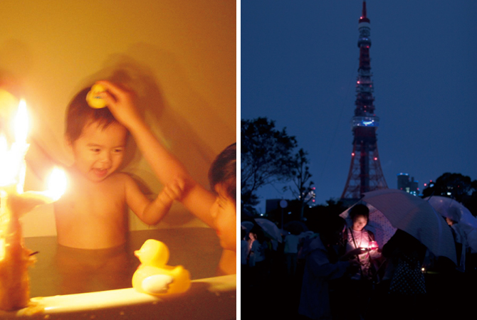 いつもとちょっと違う雰囲気のお風呂(左)。東京タワーも電気を消して(右)。