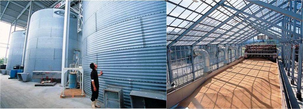 モミ貯蔵タンクと太陽熱乾燥施設。