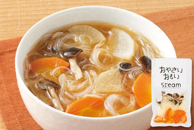 【作り方】鍋で水(約400cc)を沸かし、顆粒だし、本品を入れる。味噌(適量)と春雨(約30g)を入れる。