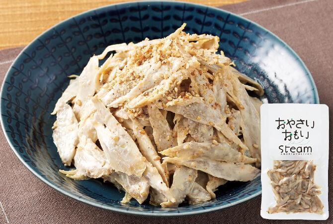 【作り方】ボウルにマヨネーズ(大さじ2)、すりごま(小さじ2)、酢(小さじ1)、砂糖(小さじ1/2)、醤油(小さじ1)を混ぜ合わせ、水気を切ったごぼうを入れて絡める。トッピングにごまをかける。