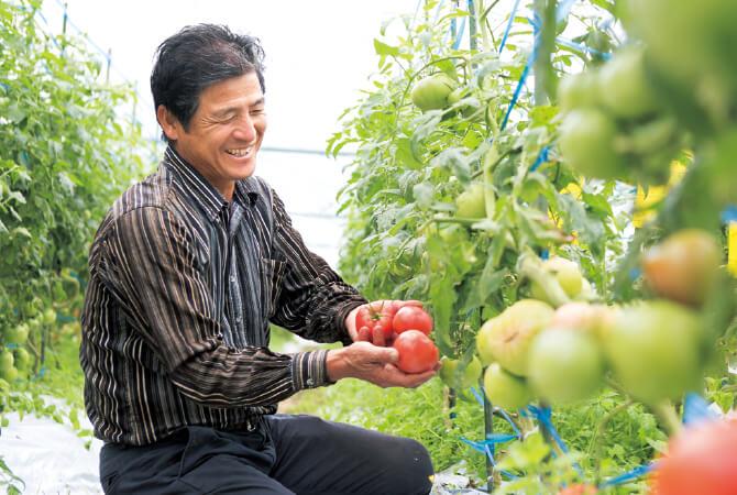 「有機農業は土作りが基本。さらにその土の先には海があり、自然はつながっているのです」と、「肥後あゆみの会」代表・澤村輝彦さん。ハウス内の暖房も、廃木材で作ったペレットを燃料にした自然由来です。