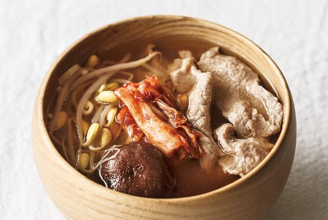 豆もやし + キムチ + 豚肉