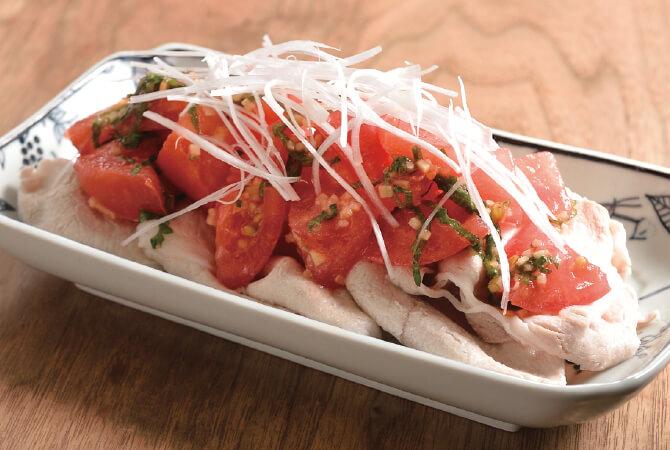 豚しゃぶの薬味トマトのせ