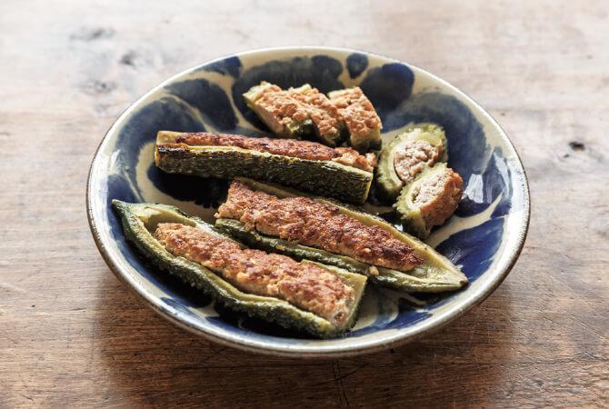 ゴーヤと豆腐の肉詰め