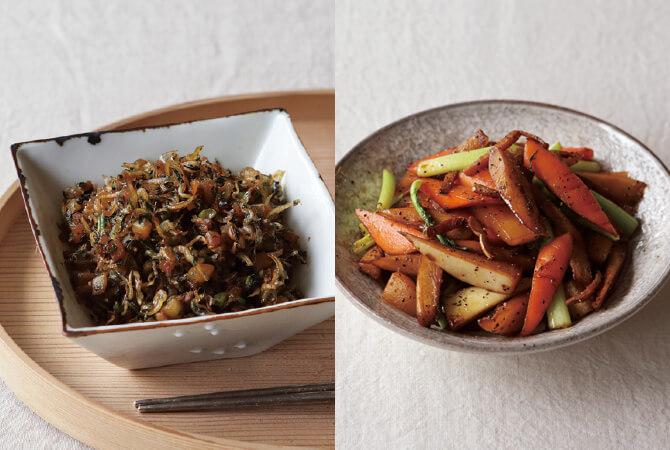 「一物全体」を意識して。かぶのふりかけ(左)、根菜のざくざくきんぴら(右)
