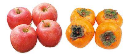 大地を守る会の『清明(りんご)&種なし柿(刀根柿または平核無柿)』