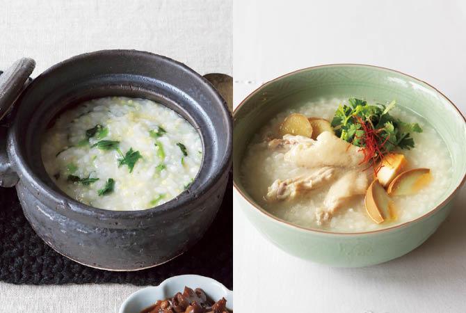 春菊としいたけのきび粥(左)、鶏手羽先と卵の親子粥(右)