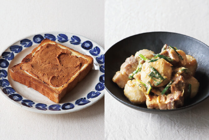酒粕ときな粉のトースト(左)、塩豚と里芋の酒粕煮(右)