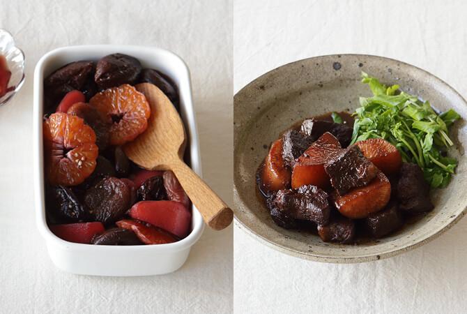 果物のワイン漬け(左)、牛スネ肉の赤ワイン煮(右)
