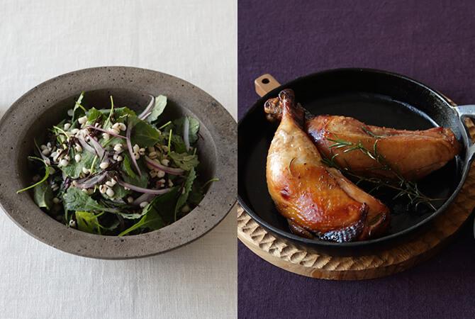 一味変えて楽しむクリスマス。ハトムギとヒジキのケールサラダ(左)、ハニーローストチキン(右)