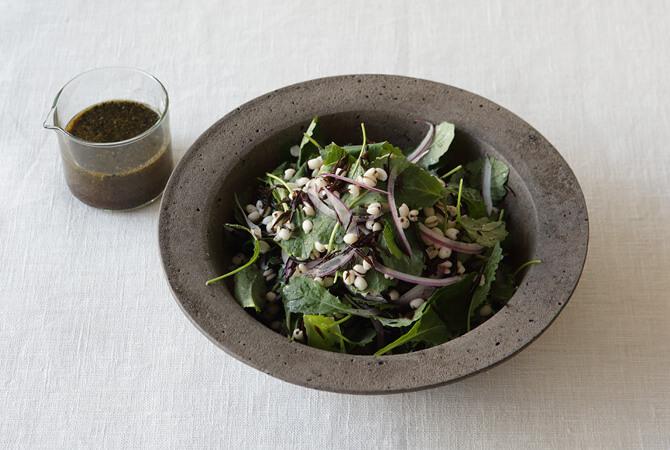 ハトムギとヒジキのケールサラダ