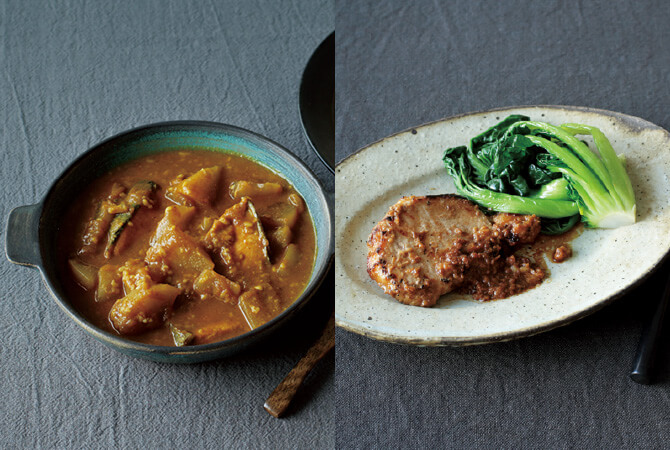 大根と鮭の甘酒カレー(左)、甘酒のポークジンジャー(右)