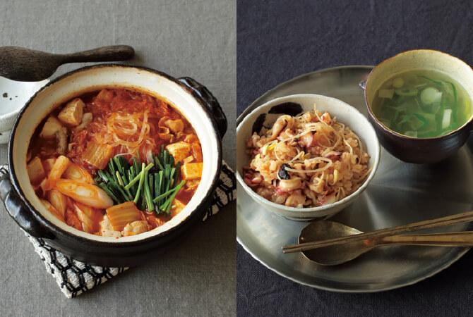 基本のキムチ鍋(左)、豆もやしとタコの炊き込みごはん&簡単スープ(右)