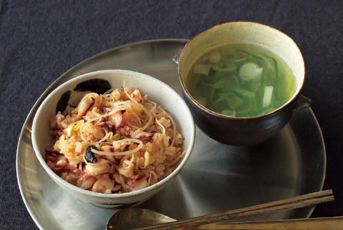 豆もやしとタコの炊き込みごはん&簡単スープ