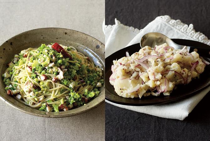 粒つぶブロッコリーとタコのペペロンチーノ(左)、アンチョビポテトサラダ(右)