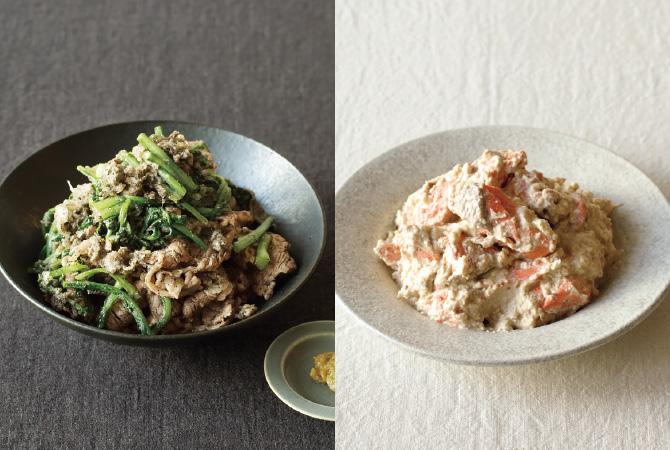 牛肉と春菊のごまぽん酢和え(左)、紅鮭のごま白和え(右)