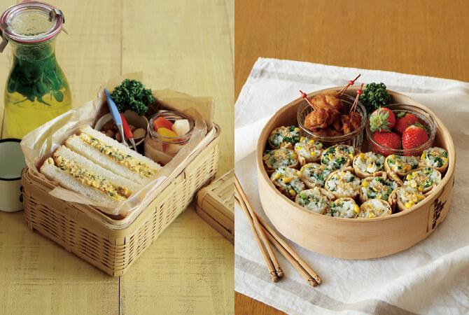 ミント香る大人の卵サンド(左)、菜の花いなり寿司(右)