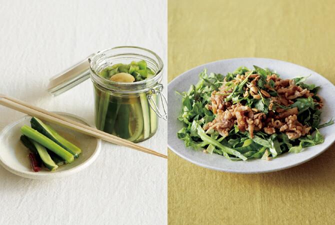 まろやか風味の中華ピクルス(左)、しゃきしゃきレタスの肉味噌がけ(右)