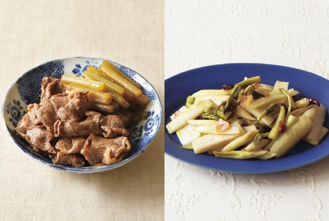 ふきと牛肉のおかず煮(左)、うどのペペロンチーノ炒め(右)