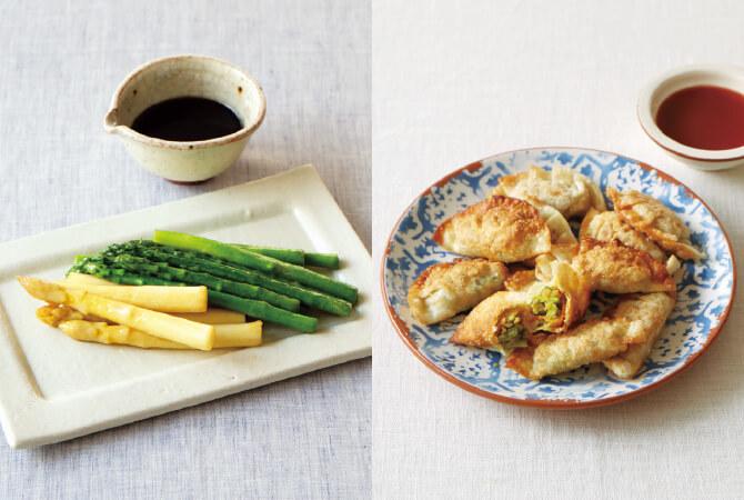 山菜と長芋の皮ごとアヒージョ(左)、藁焼き鰹の香ばしカルパッチョ(右)