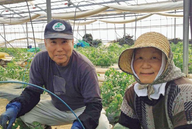 『水切り栽培のうま夏トマト』の生産者、福島県玉川村福島わかば会の高林邦男さんと廣子さん