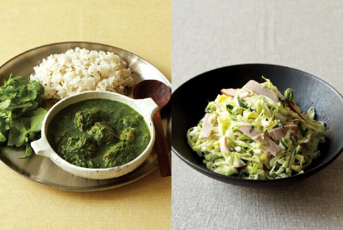 緑の野菜とサバのカレー(左)、青じそとキャベツの塩麹コールスロー(右)