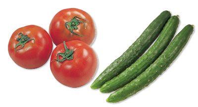 大地を守る会の『水切り栽培のうま夏トマト・400g&おしろいきゅうり・300g』
