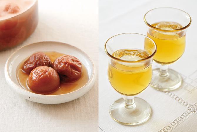 「完熟梅」のさっぱり漬け(左)、「完熟梅」のやさしい梅酒(右)