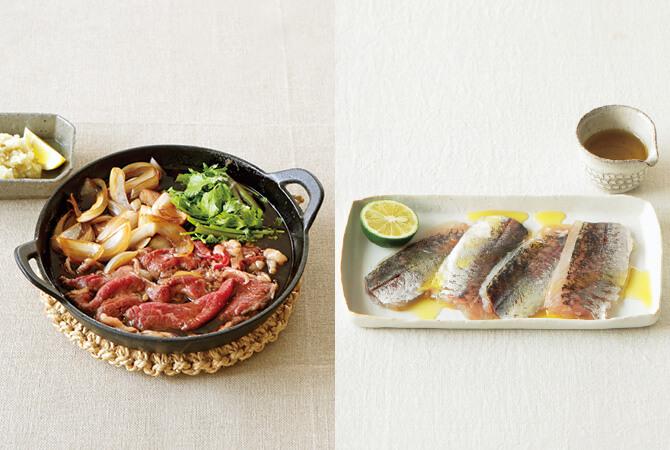 大根おろしとゆず胡椒のさっぱりすき焼き(左)、アジの昆布〆のマリネ風(右)