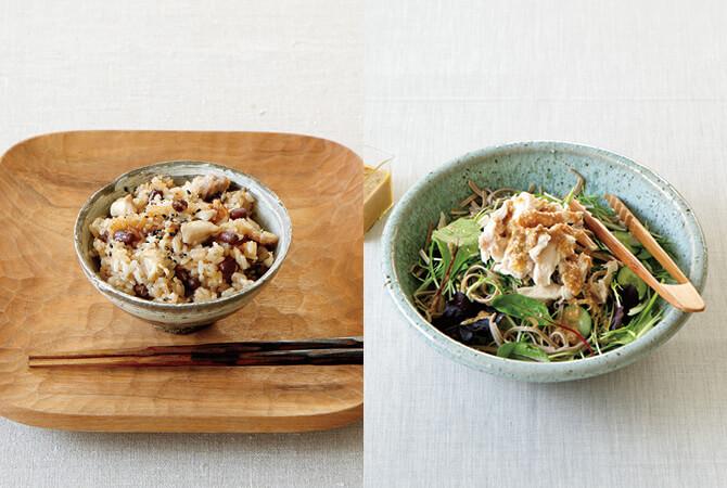 ほっくりお豆の鶏おこわ(左)、蕎麦サラダのくるみドレッシング添え(右)