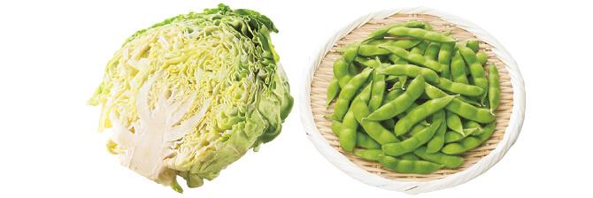 あま夏キャベツ1/2コ&うま味ふっくら枝豆・200g
