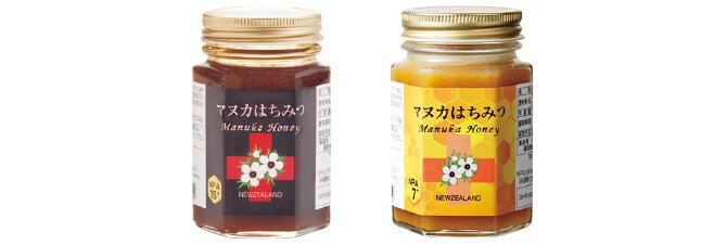 マヌカはちみつNPA15+(左)とマヌカはちみつNPA7+(右)
