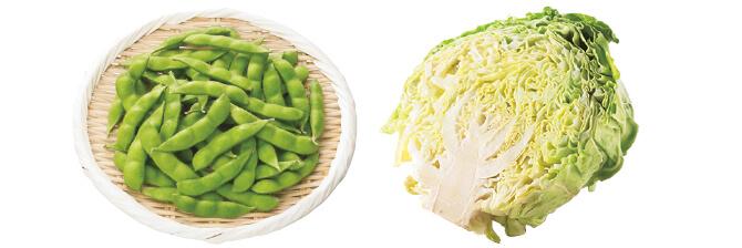 あま夏キャベツ・1/2コ&うま味ふっくら枝豆・200g