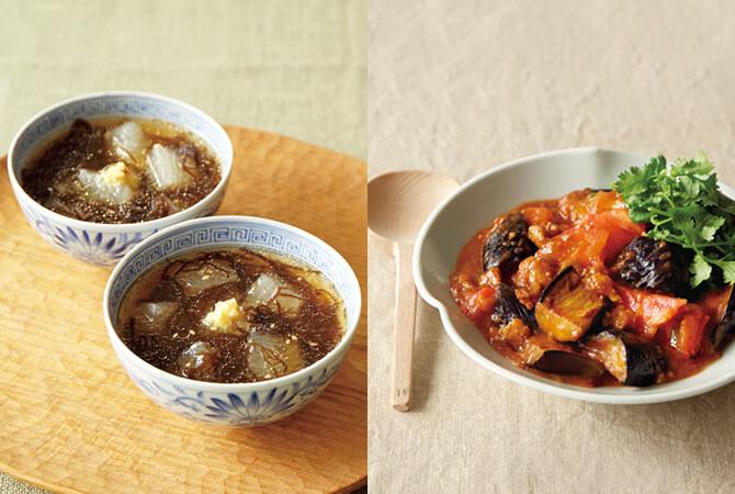 冬瓜ともずくの冷たいスープ(左)、たっぷりトマトの麻婆なす(右)