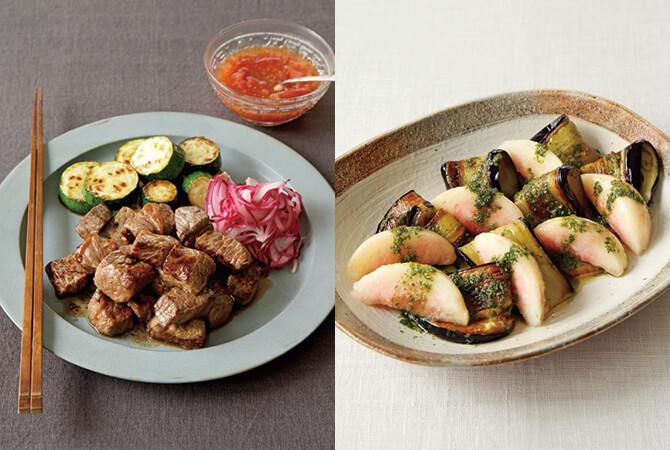 ころころ肉の夏ステーキ(左)、焼きなすと桃のサラダ青じそソース(右)
