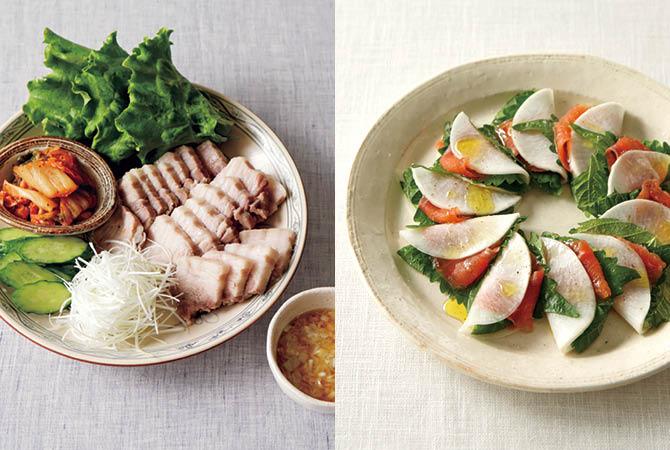 ゆで豚の野菜巻きと塩麹ダレ(左)、サーモンの花びら大根(右)