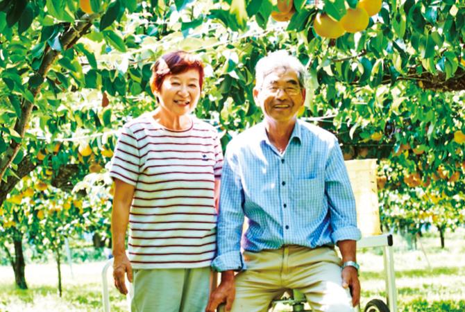 斎藤さん・阿部さんの梨(幸水)の生産者、福島県福島市 新萌会 阿部和行さんと和子さん