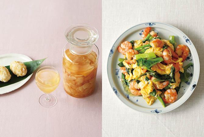 新生姜のはちみつ酢漬け(左)、つるむらさきとエビの卵炒め(右)