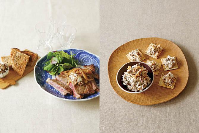 イチジクバターの秋味ステーキ(左)、秋きのことおからのパテ(右)