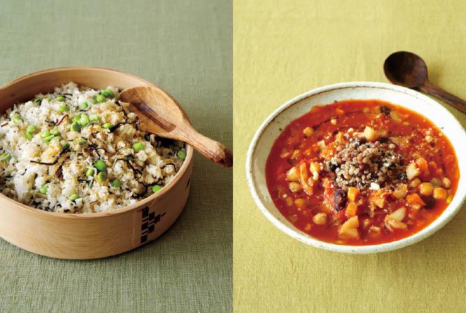 枝豆の中華風混ぜごはん(左)、豆と雑穀の根菜ミネストローネ(右)