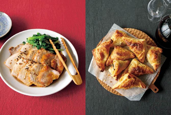 中華風ローストポーク(左)、おつまみミートパイ(右)