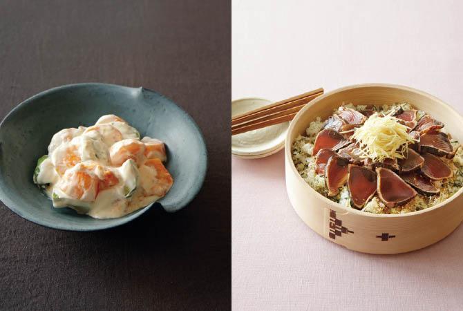 柿とアボカドのサラダ(左)、戻りガツオの漬けちらし(右)
