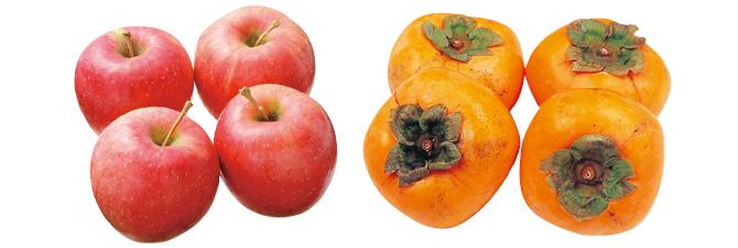 清明(りんご)・800g&種なし柿(利根柿または平核無柿)・600g