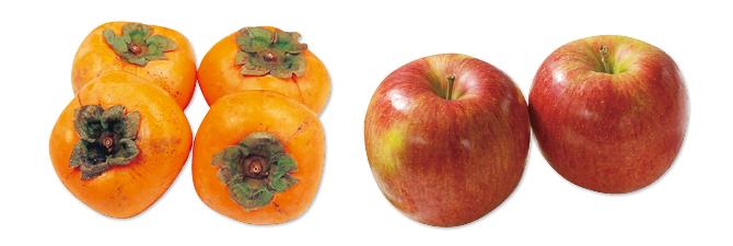シナノスイート(りんご)・700g&種なし柿(刀根柿または平核無柿)・600g